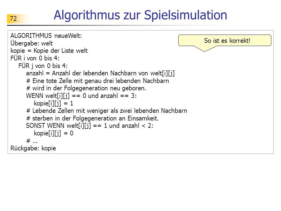 Algorithmus zur Spielsimulation