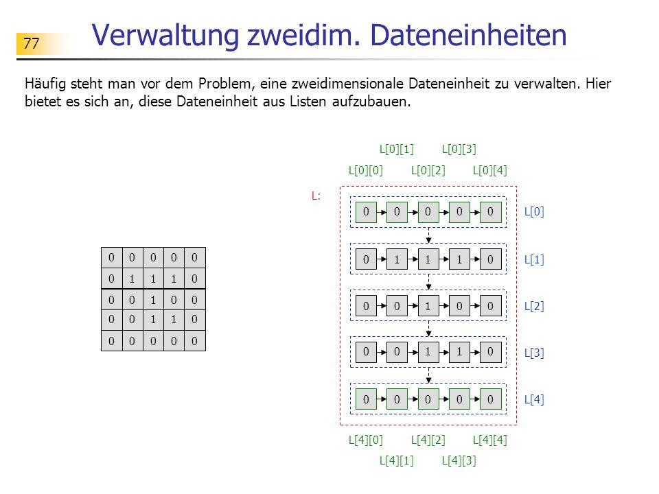 Verwaltung zweidim. Dateneinheiten