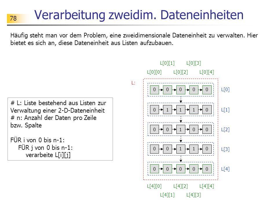 Verarbeitung zweidim. Dateneinheiten