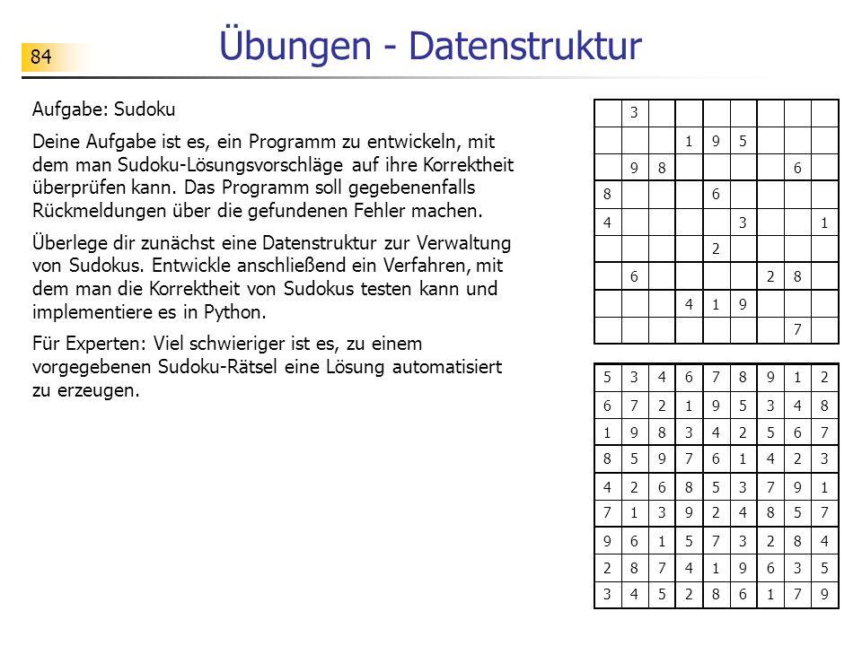 Übungen - Datenstruktur