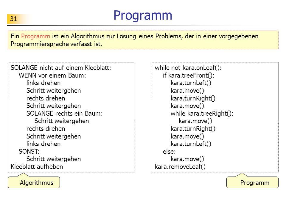 Programm Ein Programm ist ein Algorithmus zur Lösung eines Problems, der in einer vorgegebenen Programmiersprache verfasst ist.