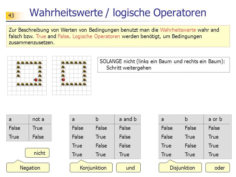 Wahrheitswerte / logische Operatoren