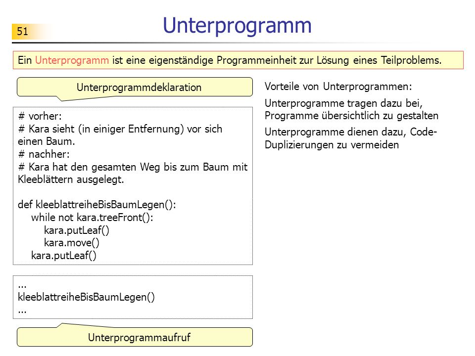 Unterprogrammdeklaration