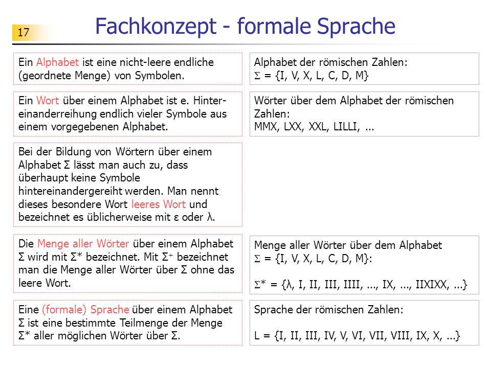 Fachkonzept - formale Sprache