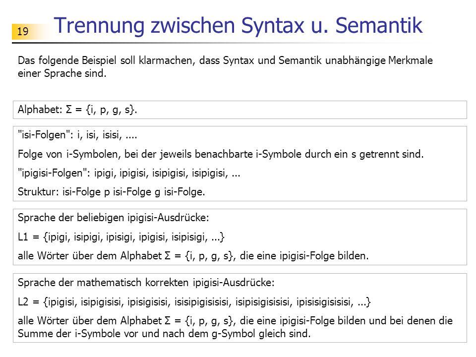 Trennung zwischen Syntax u. Semantik