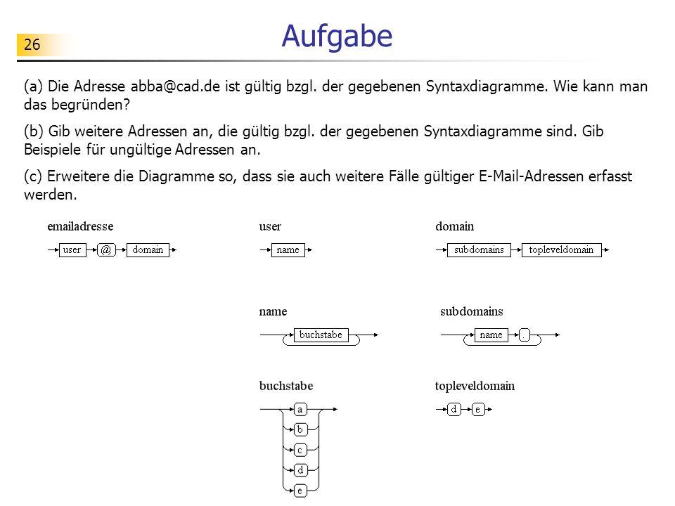 Aufgabe (a) Die Adresse abba@cad.de ist gültig bzgl. der gegebenen Syntaxdiagramme. Wie kann man das begründen