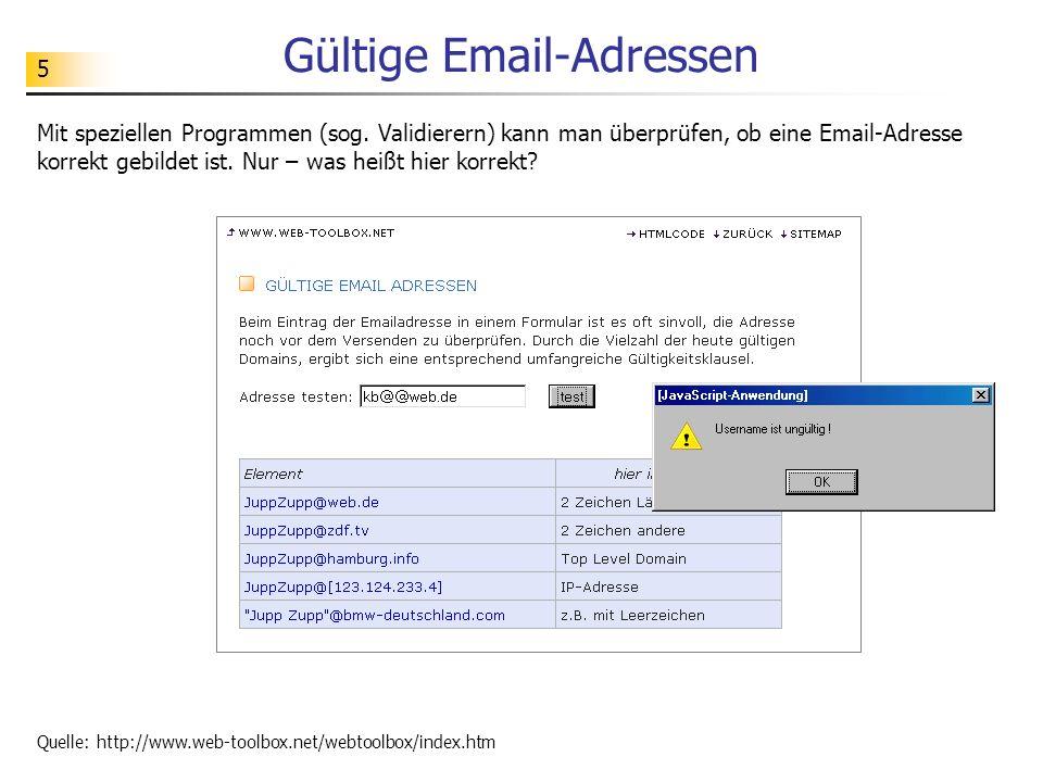 Gültige Email-Adressen