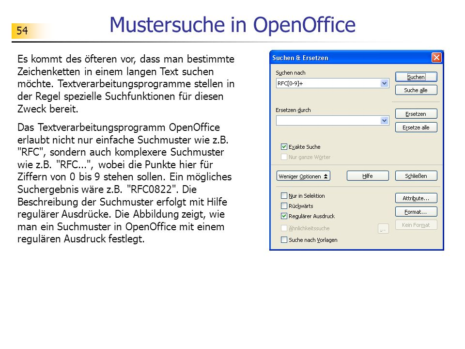 Mustersuche in OpenOffice