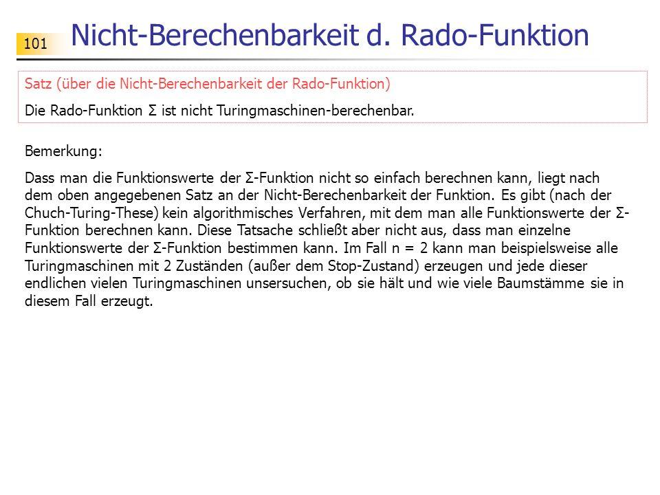 Nicht-Berechenbarkeit d. Rado-Funktion
