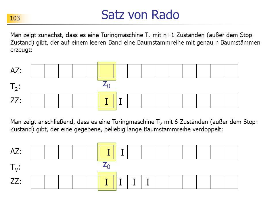 Satz von Rado z0 I I I I z0 I I I I AZ: T2: ZZ: AZ: TV: ZZ:
