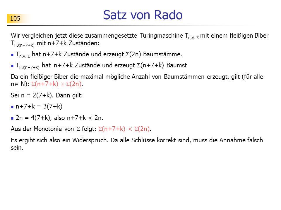 Satz von Rado Wir vergleichen jetzt diese zusammengesetzte Turingmaschine Tn,V,  mit einem fleißigen Biber TFB(n+7+k) mit n+7+k Zuständen: