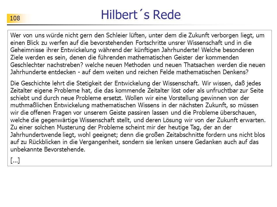 Hilbert´s Rede