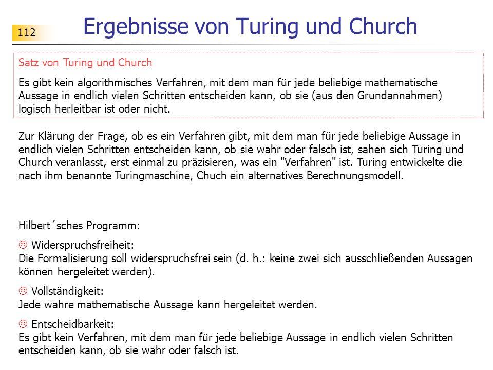 Ergebnisse von Turing und Church