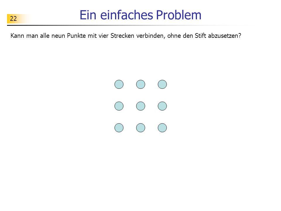 Ein einfaches Problem Kann man alle neun Punkte mit vier Strecken verbinden, ohne den Stift abzusetzen