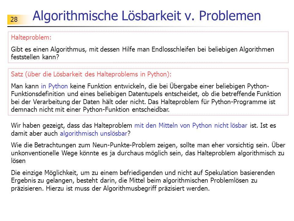 Algorithmische Lösbarkeit v. Problemen