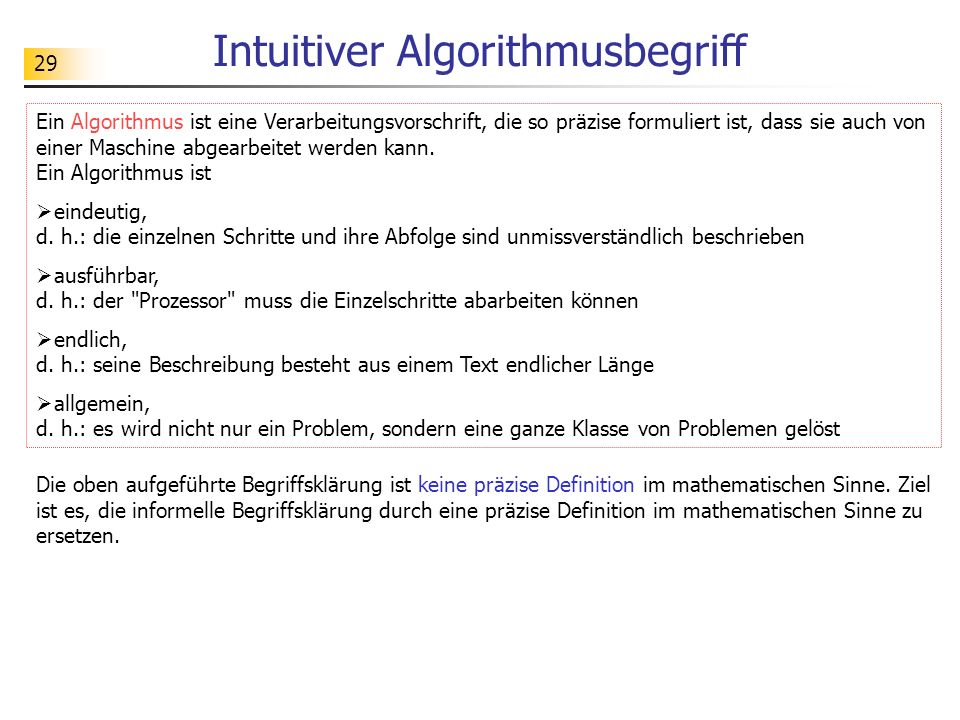 Intuitiver Algorithmusbegriff
