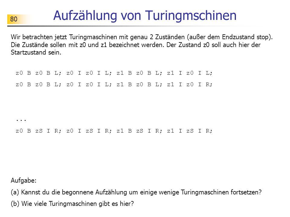 Aufzählung von Turingmschinen