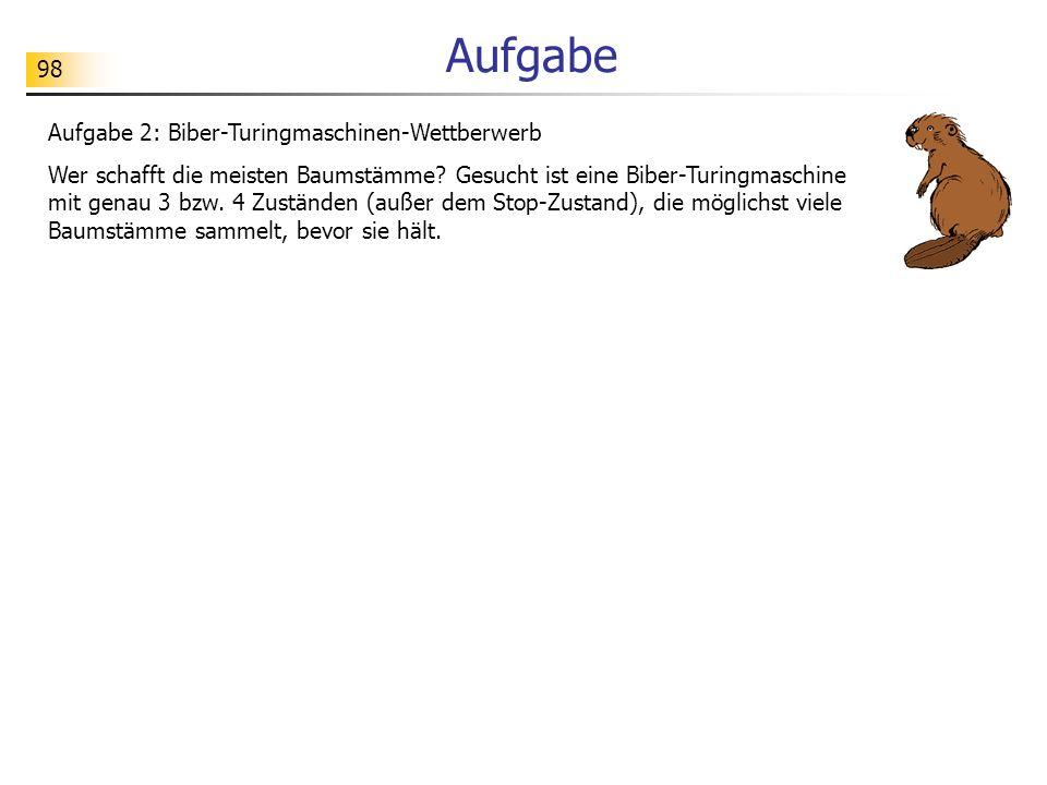Aufgabe Aufgabe 2: Biber-Turingmaschinen-Wettberwerb