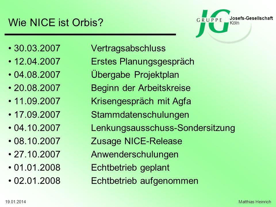 Wie NICE ist Orbis 30.03.2007 Vertragsabschluss