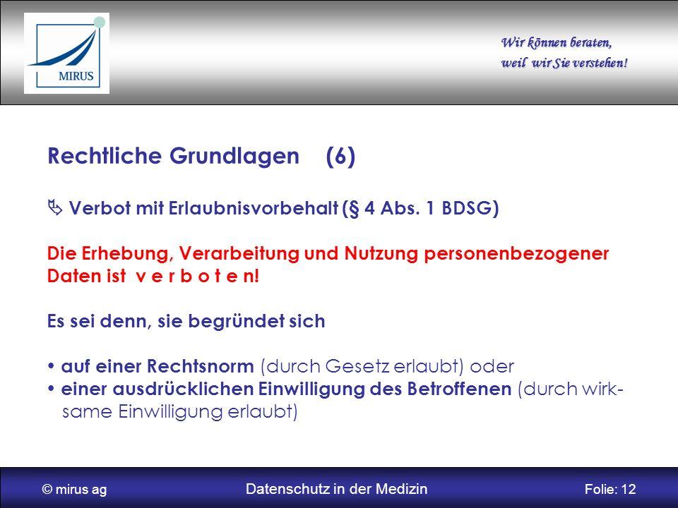 © mirus ag Datenschutz in der Medizin Folie: 12