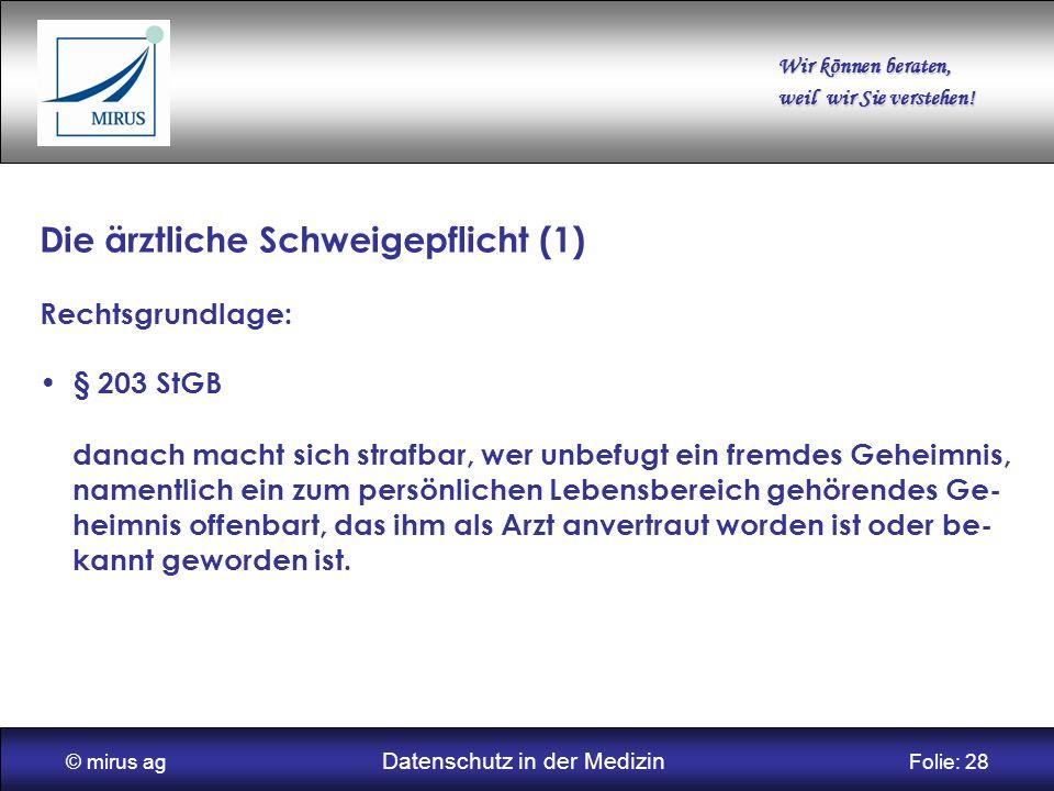 © mirus ag Datenschutz in der Medizin Folie: 28