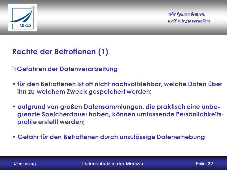 © mirus ag Datenschutz in der Medizin Folie: 32