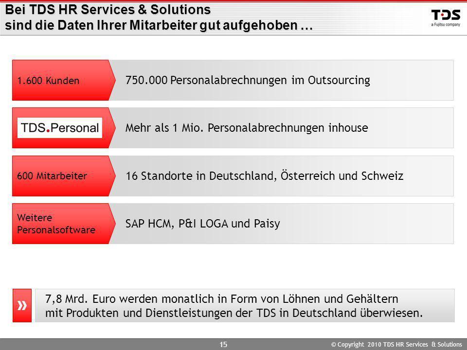 Bei TDS HR Services & Solutions sind die Daten Ihrer Mitarbeiter gut aufgehoben …