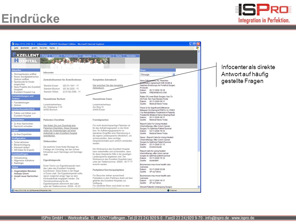 Eindrücke Infocenter als direkte Antwort auf häufig gestellte Fragen