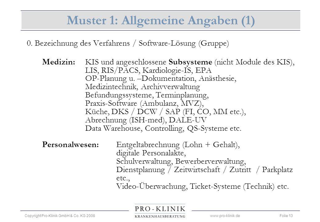 Muster 1: Allgemeine Angaben (1)