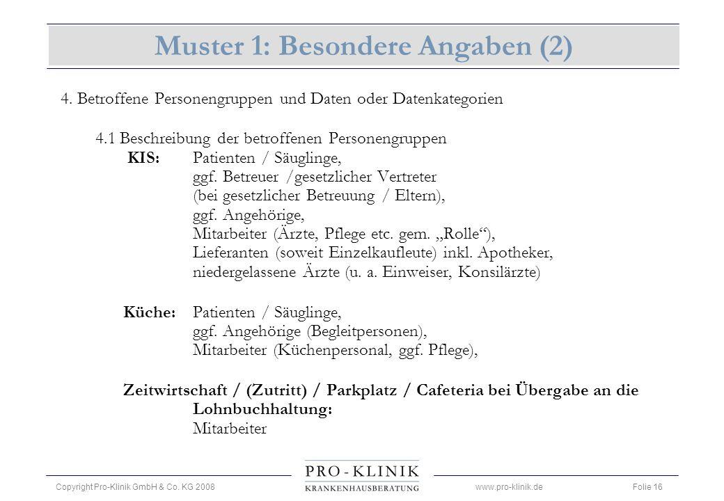 Muster 1: Besondere Angaben (2)