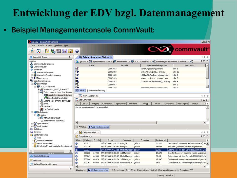 Entwicklung der EDV bzgl. Datenmanagement