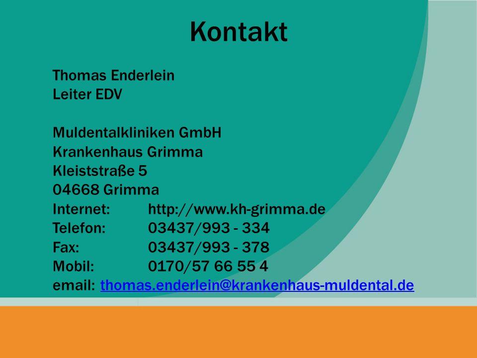 Kontakt Thomas Enderlein Leiter EDV Muldentalkliniken GmbH