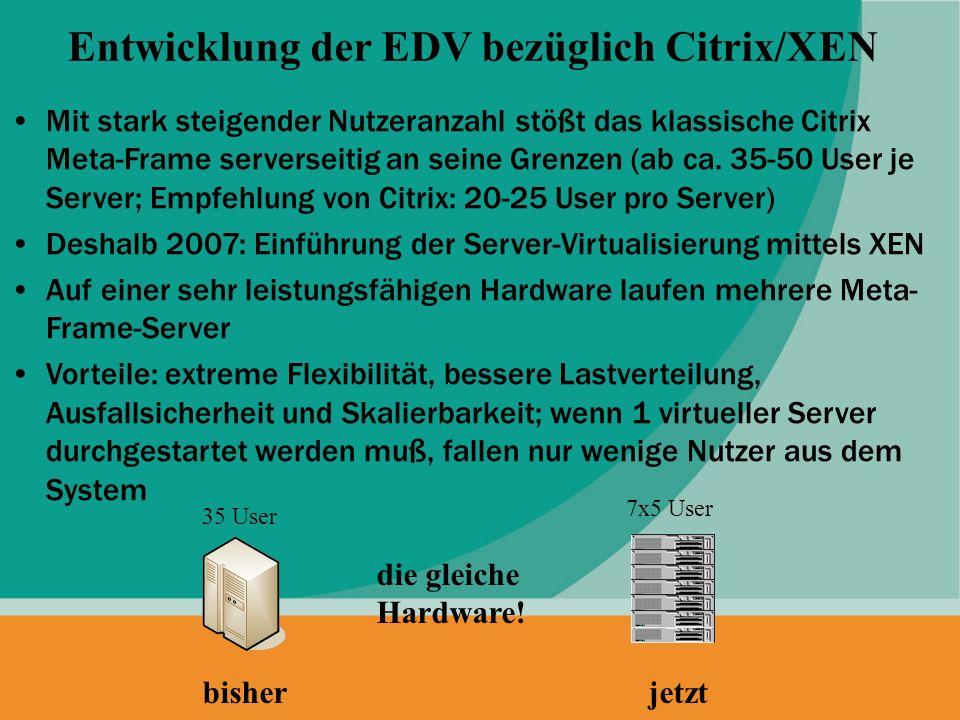 Entwicklung der EDV bezüglich Citrix/XEN