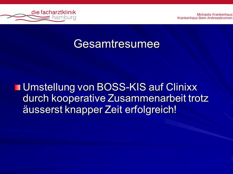 Gesamtresumee Umstellung von BOSS-KIS auf Clinixx durch kooperative Zusammenarbeit trotz äusserst knapper Zeit erfolgreich!