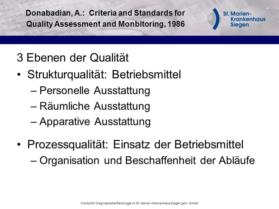 Strukturqualität: Betriebsmittel