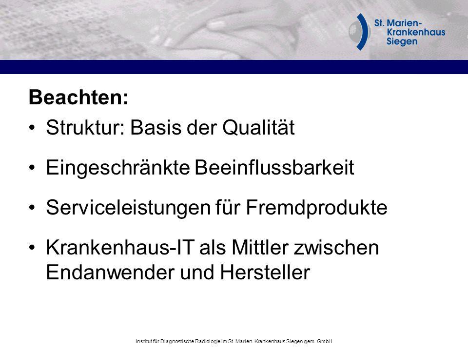 Beachten: Struktur: Basis der Qualität. Eingeschränkte Beeinflussbarkeit. Serviceleistungen für Fremdprodukte.
