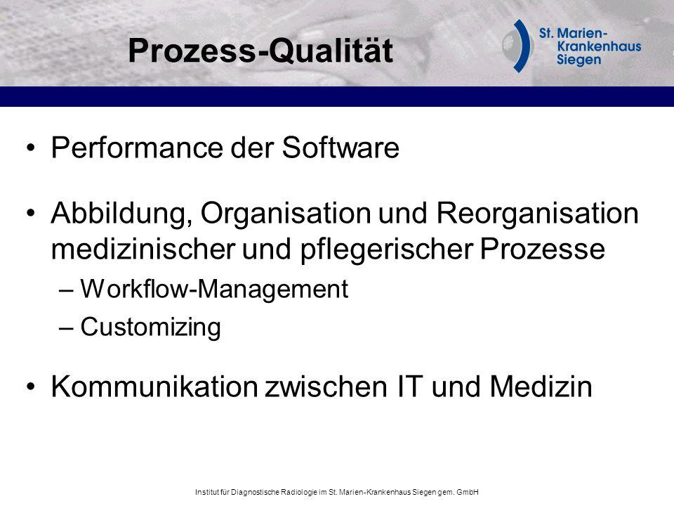 Prozess-Qualität Performance der Software