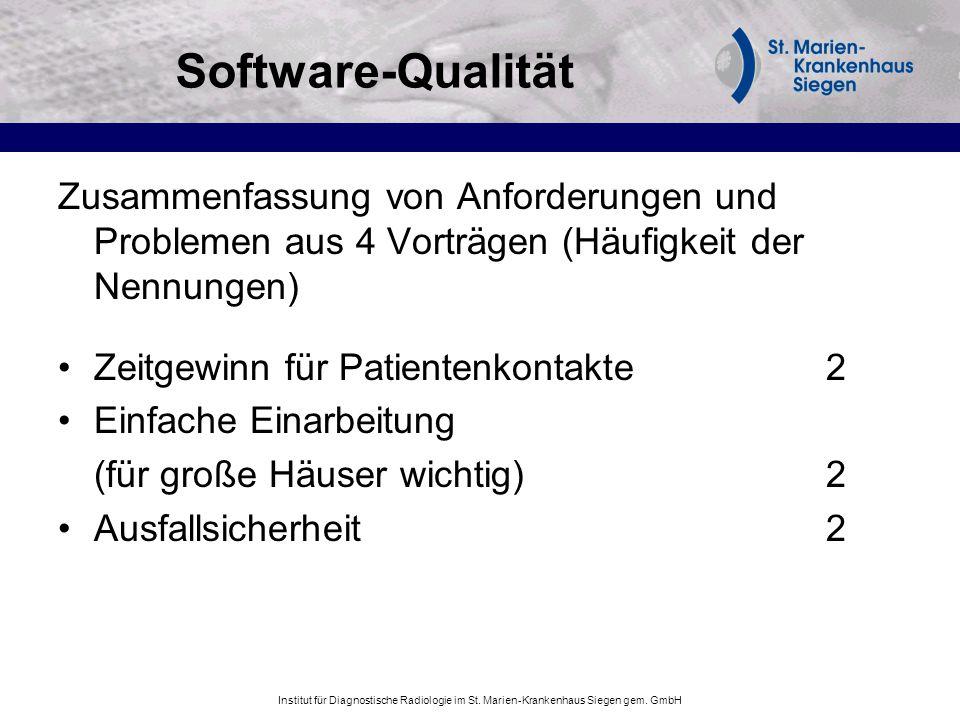 Software-Qualität Zusammenfassung von Anforderungen und Problemen aus 4 Vorträgen (Häufigkeit der Nennungen)