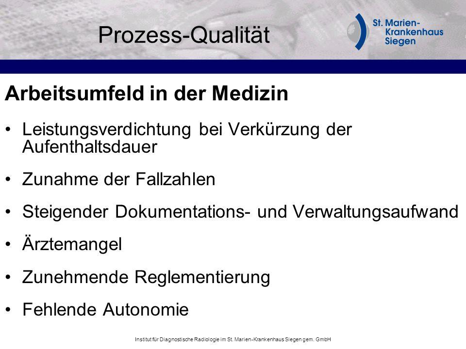 Prozess-Qualität Arbeitsumfeld in der Medizin