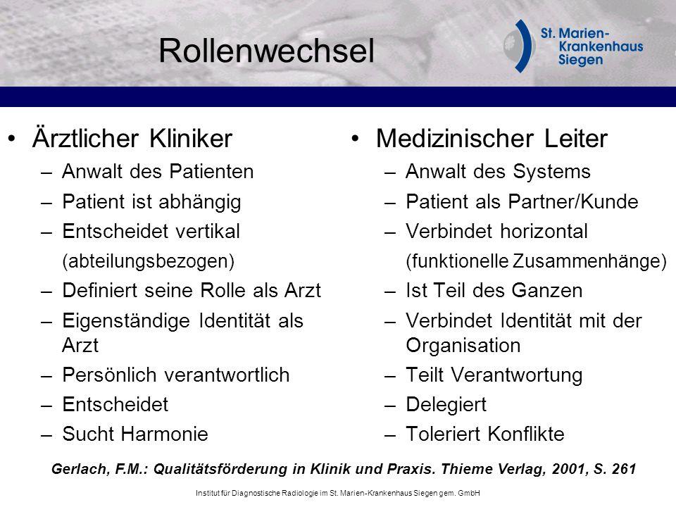 Rollenwechsel Ärztlicher Kliniker Medizinischer Leiter