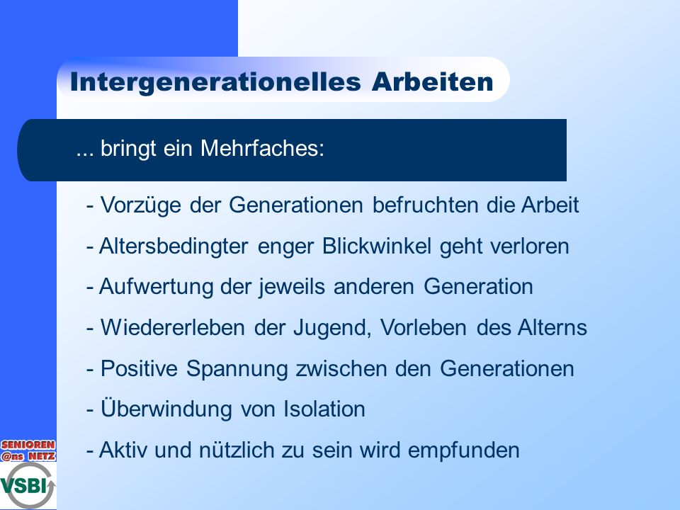 Intergenerationelles Arbeiten