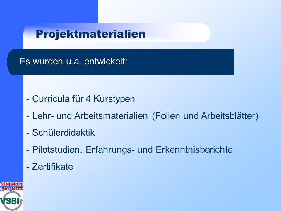 Projektmaterialien Es wurden u.a. entwickelt: