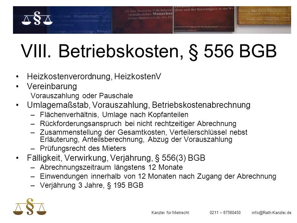 VIII. Betriebskosten, § 556 BGB