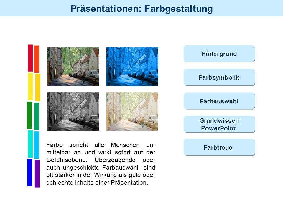 Hintergrund Farbsymbolik. Farbauswahl. Grundwissen. PowerPoint.