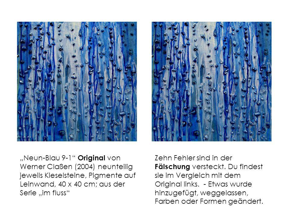 """""""Neun-Blau 9-1 Original von Werner Claßen (2004) neunteilig jeweils Kieselsteine, Pigmente auf Leinwand, 40 x 40 cm; aus der Serie """"im fluss"""