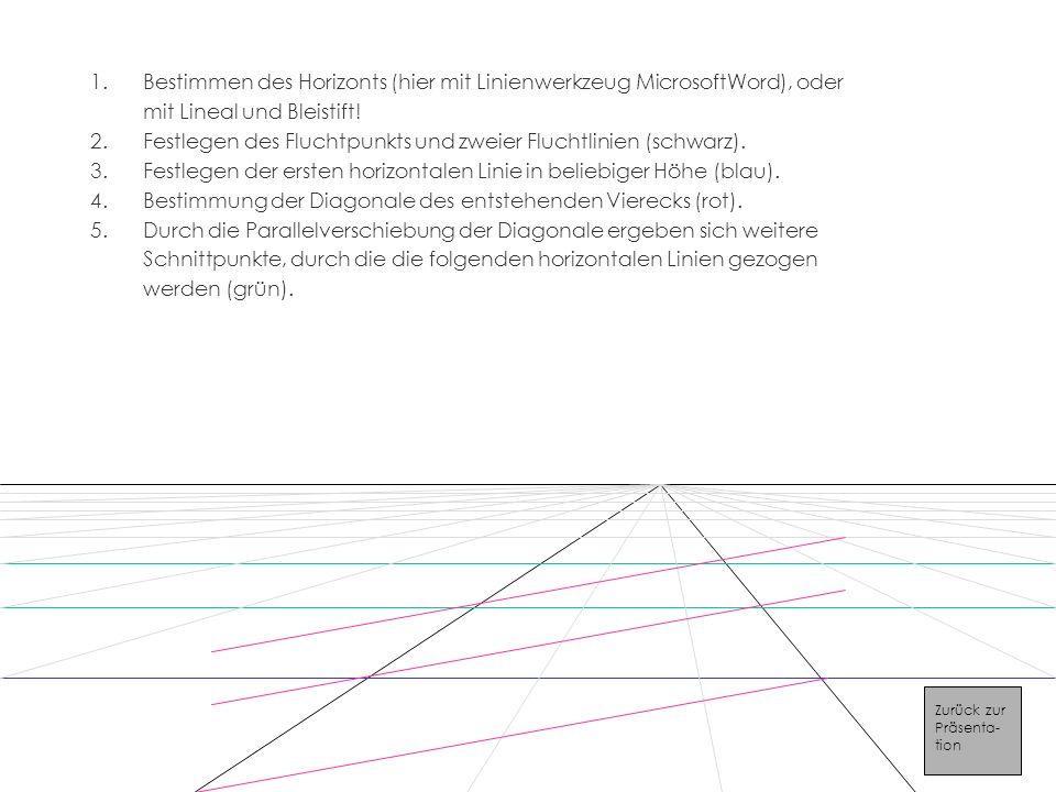 Festlegen des Fluchtpunkts und zweier Fluchtlinien (schwarz).