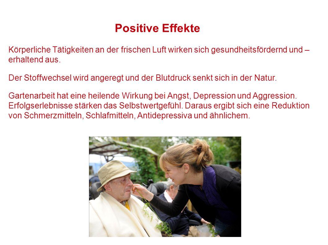 Positive Effekte Körperliche Tätigkeiten an der frischen Luft wirken sich gesundheitsfördernd und –erhaltend aus.