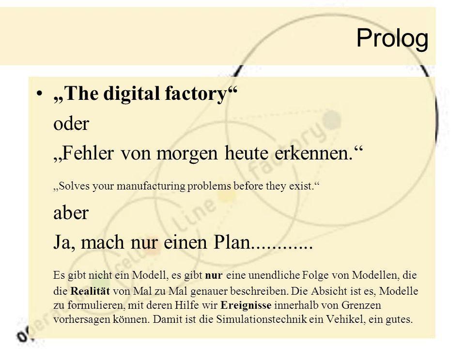 """Prolog """"The digital factory oder """"Fehler von morgen heute erkennen."""