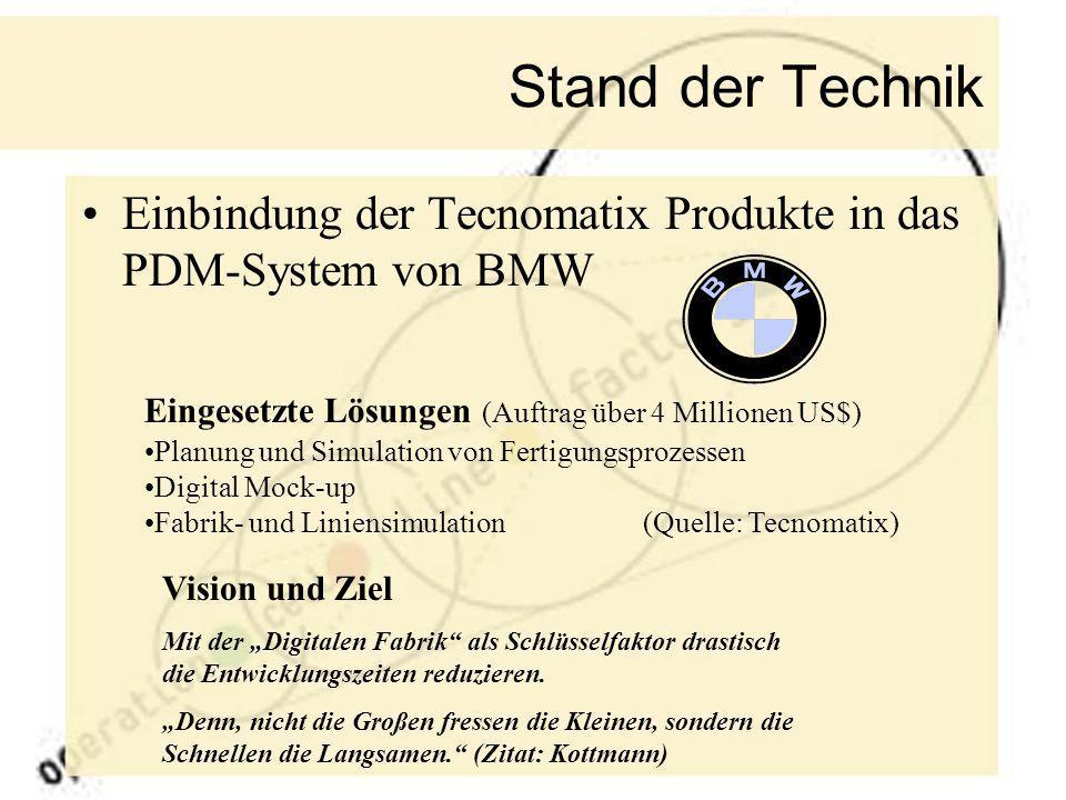 Stand der Technik Einbindung der Tecnomatix Produkte in das PDM-System von BMW. Eingesetzte Lösungen (Auftrag über 4 Millionen US$)