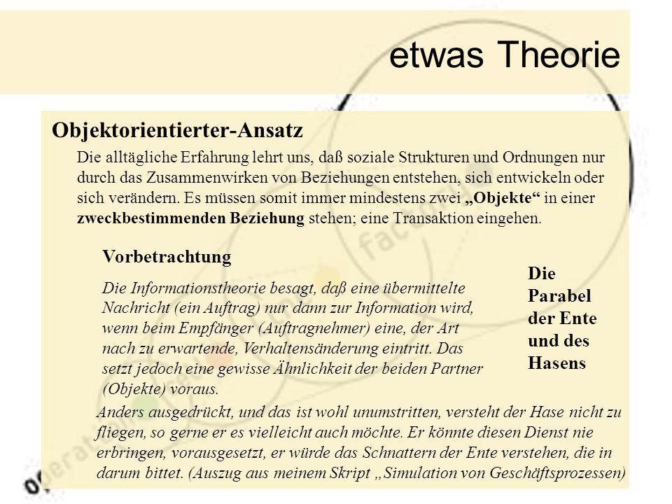 etwas Theorie Objektorientierter-Ansatz Vorbetrachtung